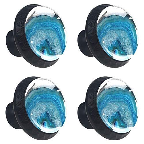 Confezione da 4 pomelli in cristallo per mobili e armadietti, rotondi, per cassetti e cassetti, maniglie per armadi, armadietti e bagno