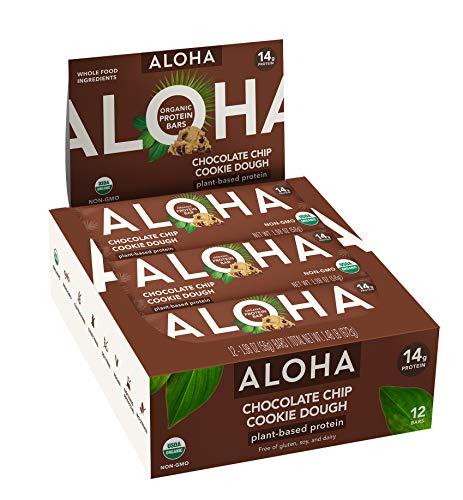 ALOHA Organic Plant Based Protein Bars |Chocolate Chip Cookie Dough | 12 Count, 1.9oz Bars | Vegan Snacks, Low Sugar, Gluten Free, Low Carb, Paleo, Non-GMO, Stevia Free, No Sugar Alcohols