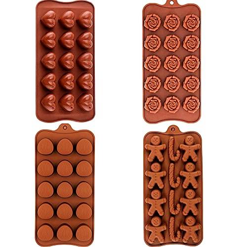 4 Pezzi stampi in silicone per cioccolatini e caramelle,Stampo in Silicone per cioccolatini,per Caramelle, Gelatine, dolcetti per cani,Torte e cioccolatini,4 Forme Diverse, Marrone