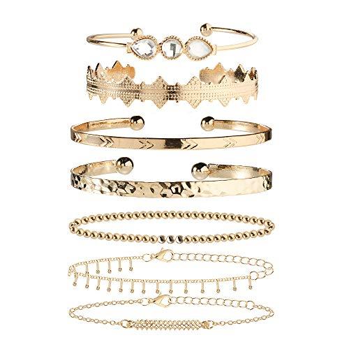 ZYJ 7PC's vintage gouden kralen armband set voor vrouwen geometrische open Bangles met strass steentjes mode vrouwelijke pols sieraden
