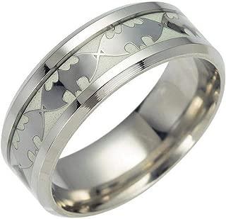 CHLOBG Men's Stainless Steel Luminous Batman Gold Silver Ring Glow in The Dark
