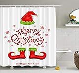 Weihnachts-Duschvorhang, wasserdicht, für Badezimmer, Duschvorhänge, rote Schuhe, Elfe, weiß, Urlaubsbuchstaben, Badezimmer-Set mit Haken, 183 x 198 cm, rote Schuhe, Elfe