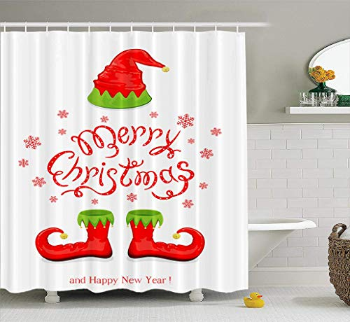 Christmas Shower Curtain, Waterproof Bathroom Shower Curtains Red Shoes Elf White Holiday Lettering Bathroom Set Bathroom Curtains Set of Hooks 72x78 inches, Red Shoes Elf