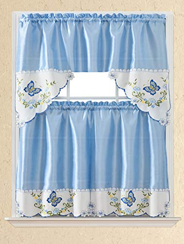 3pc Rod Pocket Embroidered Kitchen Curtains and Valances Set Swag Curtains & Tier Set 36 Inch Length Floral Fruit Designs Many Colors( BT340-BLUE)