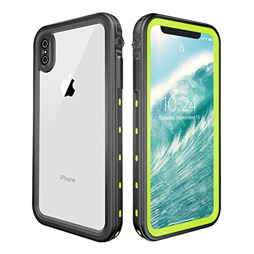 Heavy Duty Waterproof Case, Redpepper Drop Resistant Underwater Hybrid Plastic Skin for Apple iPhone Xs Max with Built-in Screen Protector Green