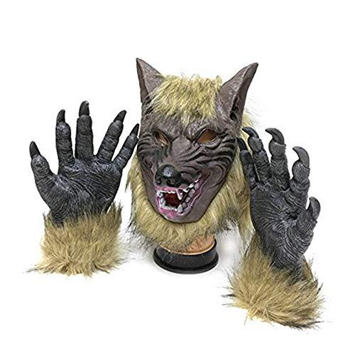 thematys Böser Wolf mit Klauen Handschuhen Horror Maske - perfekt für Fasching, Karneval & Halloween - Kostüm für Erwachsene - Latex, Unisex Einheitsgröße