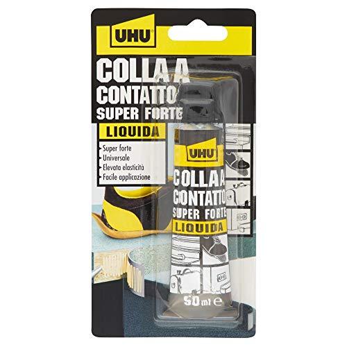 UHU Colla a contatto liquida 50ml Adesivo speciali Resistente alle alte temperature. Super forte. Elevata elasticità, Giallo