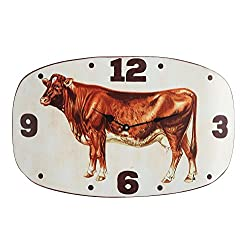Creative Co-op Metal Wall Clock with Vintage Cow