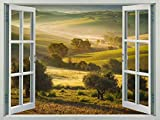 Walls 360 Peel & Stick Faux Window Wall Decal: Tuscan Hills with Olive Trees (36 in x 27 in)