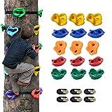 KKTECT Presas de Escalada Presas para trepar a los árboles 15 presas para trepar a los árboles y 6 Correas de trinquete para niños trepadores Uso del Set de Juego Interior y Exterior