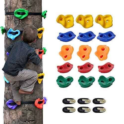 HUKOER Klettern hält Kinderklettersteine, 15 Baumklettergriffe und 6 Ratschengurte für Kinderkletterer Ideal zum Klettern auf Rahmen, Baumhäuser und Kinderkletterwände
