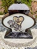 Grablampe Mit Motiv Grablicht Kerze Grabkerze Grabdekoration Grabschmuck Gartenlampe' Wir Vermissen Dich' Incl.Grabkerze