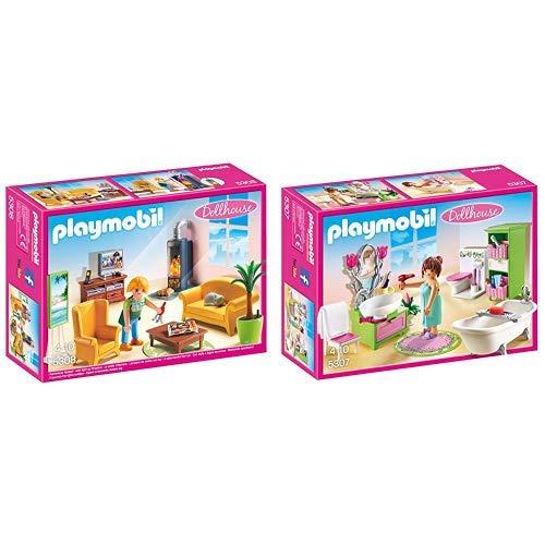 Playmobil 5308 - Wohnzimmer mit Kaminofen &  5307 - Romantik-Bad