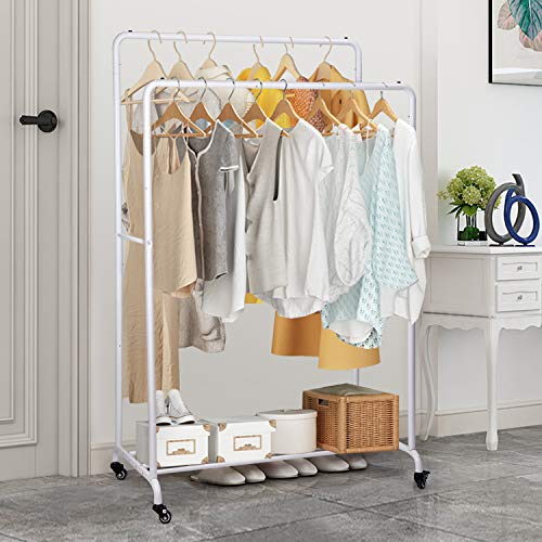 Percheros Burro Independiente - amzdeal Perchero Metálico Resistente de Doble Barra con Ruedas, 164 x 58 x 98 cm, Multifuncional, Cargable Hasta 55 kg, Blanco