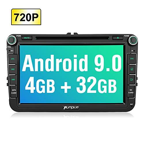 PUMPKIN Android 9.0 Autoradio für VW Radio mit Navi 4GB / 8 Core Unterstützt Bluetooth DAB + Android Auto CD DVD WiFi 4G USB MicroSD 8 Zoll IPS Bildschrim