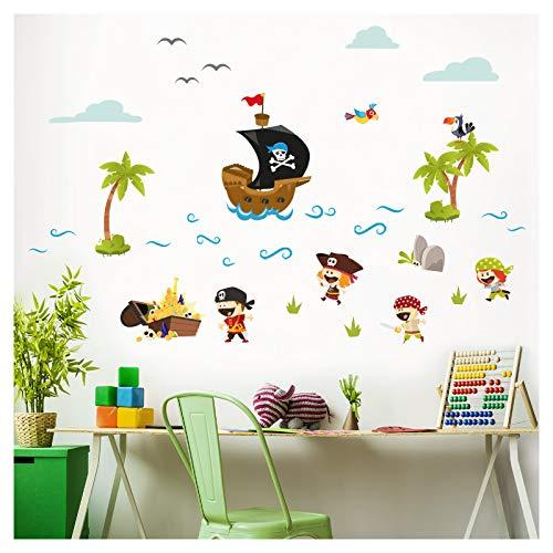Little Deco Aufkleber Piraten Schiff & Schatz I Wandbild M - 88 x 55 cm (BxH) I Wandtattoo Kinderzimmer Junge Babyzimmer Deko Wandaufkleber Baby Sticker DL330