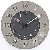 XFSE Reloj de Pared La Manera Negro Gris del Color del Contraste Redonda Silencioso Reloj De Pared De La Sala De Estar Decoración Artículos Acento Adorno De Artesanía Moderna Regalo 30 * 30cm