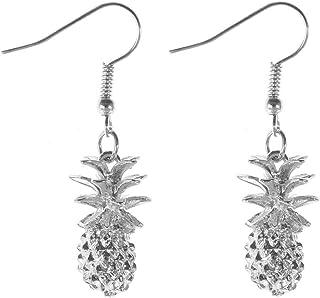 XCFS 3d Pineapple Charm Earring Silver Plated White Women Girls Tassel Dangle Earrings