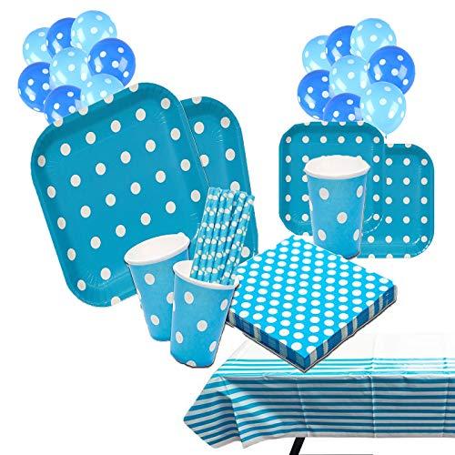 Set da tavola monouso per Festa di Compleanno, Piatti, Bicchieri, tovaglioli, tovaglia, Scatola per Popcorn, cannucce, Motivo a Pois, Colore Blu, per 16 Persone