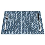 Luase Table Mats Placemats Washable PVC Place Mats,Primitive Herringbone Pattern Blue Woven Vinyl Stain Heat-Resistant Washable Placemats Set of 4