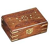 Marrakech Accessoires - Caja de Almacenamiento con Tapa (16 cm, Madera), diseño Oriental