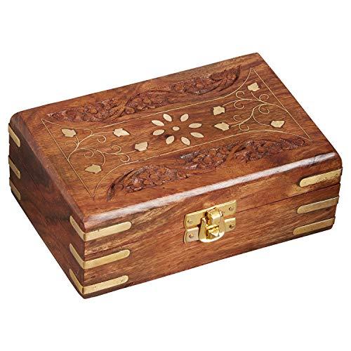 Orientalische kleine Aufbewahrungsbox mit Deckel Dubhe 16cm groß | Orientalischer Schmuckkästchen für Mädchen und Damen zur Schmuckaufbewahrung | Marokkanische Schatulle Box aus Holz