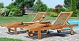 ASS 2X Hochwertige Teak Sonnenliege Gartenliege Strandliege Liegestuhl Holzliege Holz sehr robust - 6