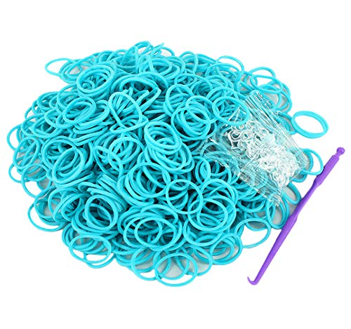 Salome Idea Rubber Bands -3000pcs Rubber Loom Bands Barcelet Making Kit,25pcs S-Clips,5-Hooks (Light Blue)
