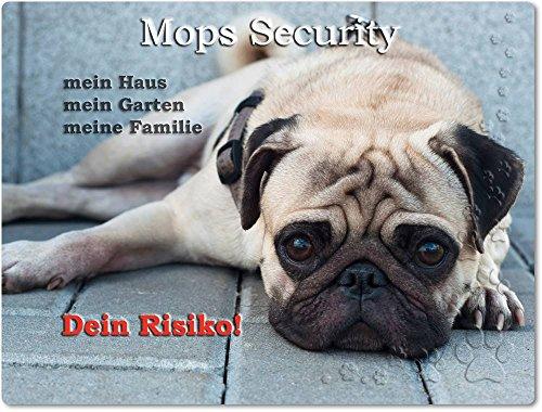 Merchandise for Fans Warnschild - Schild aus Aluminium 20x30cm - Motiv: Mops Security (04)