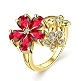 Yellow Chimes Designer Crystal by Yellow Chimes Gold Plated and Cubic Zirconia Ring for Women (Red)(YCFJRG-361FLW-RD)