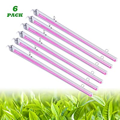 6 Pack LED Grow Light,T8 Integrated Growth Tube Lamp 4ft 270W(45w x 6 1400W Equivalent),Full Spectrum Sunlight Replacement,Double Row,Linkable Design,High Output,4 Foot Plant Lights for Indoor Plant