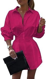 HenzWorld Camicia a Maniche Lunghe da Donna Abito con Scollo a V Bottone in Tinta Unita Ol Mini Abito da Donna Casual Alle...