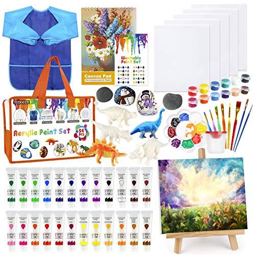 Kids Paint Set 55pcs Acrylic Paint Set with Rock Painting Set & Dinosaur...
