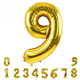 40 Inch Gold Large Numbers Balloons0-9,Number 9 Digit Helium Balloons,Foil Mylar Big Number Balloons for Birthday Party Supplies Decorations