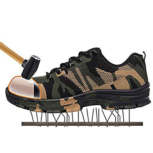 MJJ Zapatos de Seguridad con Punta de Acero para Hombres, Transpirables, Ligeras, Reflectantes, Botas de Trabajo Senderismo Botas Bajas Seguridad Senderismo Zapatos para Trekking,Natural,5