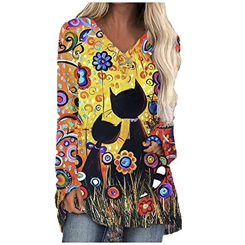 YANFANG Camiseta De Manga Larga con Estampado Gato Digital para Mujer,Blusa Informal Ropa Trabajo, Camisa Elegante Talla Grande Mujer,Amarillo,L