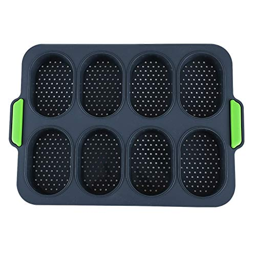 Elke leampp 8 Cavity Mini Loaf Pan Grote Rechthoek Bars Silicone Mold, voor Pudding Muffin Brownie Cornbread Cheesecake Chocolade Snoep Voeding Granola Granola Cereal Maker