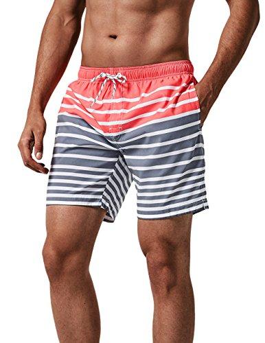 MaaMgic Badehose Herren Schnelltrocknende Badeshorts Jungen Strand Strandurlaub Surf Freizeit Laufen Sport mit Netzfutter Taschen einstellbare Kordelzug MEHRWEG-L-Pink Grau