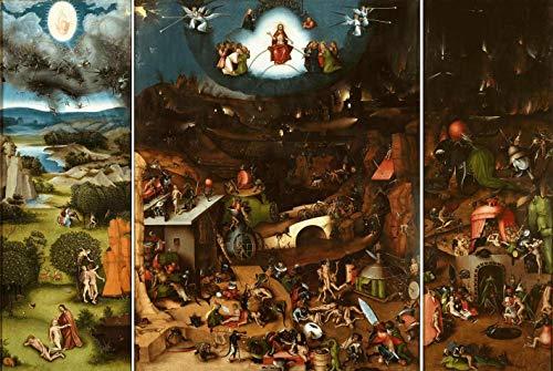 O Juízo Final (1482) - 3 Telas de Hieronymus Bosch - 75x111 - Tela Canvas Para Quadro