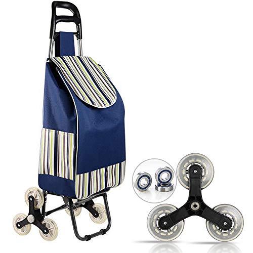 Klappbare Einkaufswagentasche, faltbarer Trolley Wagen, 3-Rad-Treppensteiger, faltbar, große Kapazität, leicht zu erklimmende Treppe, zum Einkaufen, Picknicken. ( blauen)