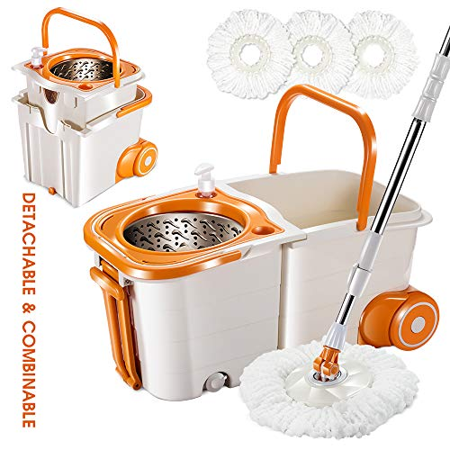 360 Spin Mop and Bucket ,with Wringer Set for Floor Cleaning Mops and Bucket System with Wheels and 3 Mop Pads Replacements Mop Bucket Kit with Retractable Handle