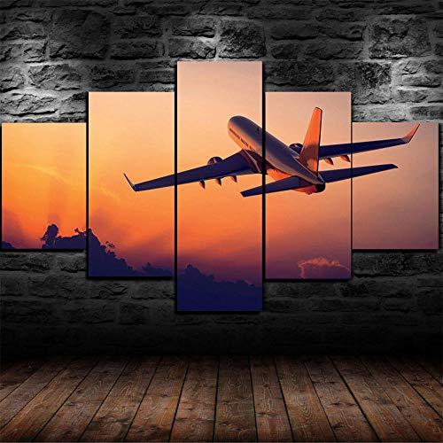 LIVELJ Cargo plandeka Taking Off/Total Size: (20 cm x 100 cm) 5-częściowy obraz na płótnie, nowoczesny obraz na płótnie do zawieszenia, abstrakcyjny design, plakat HD, dekoracja domowa