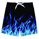 UNICOMIDEA Boys Swim Trunks Beach Shorts for Little Boys Cool Blue Smoke Bathing Short Size 7-8 Year Old Boys Swimsuits with Design Drawstring Beach Party Swimming Trunks