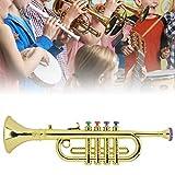 Nannday 【𝐒𝐞𝐦𝐚𝐧𝐚 𝐒𝐚𝐧𝐭𝐚】 Kid Horn Trumpet, Kid Trumpet Golden Coated ABS Niños Preescolar Música Juguete Regalo de cumpleaños Instrumento de Viento para niños