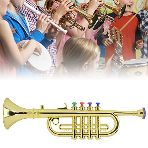 Kinder Trompete Horn, Kinder Trompete Golden Coated ABS Kinder Vorschule Musik Spielzeug Geschenk Wind Instrument Gold Trompete