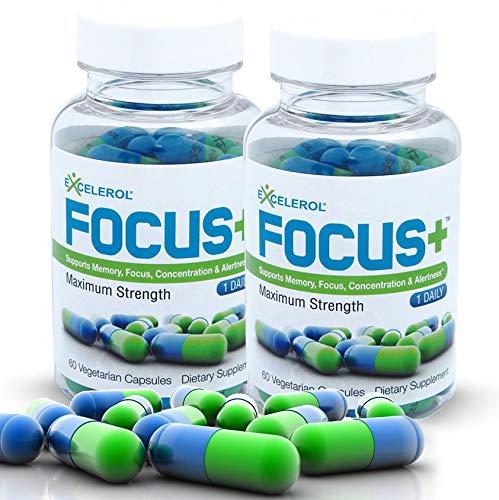 Excelerol Focus Plus Brain Supplement, Memory Support Capsules (120 Capsules)