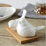 zyl 2pcs Tarro de Especias Botella de vinagre de Aceite Diseño Creativo del pájaro del Amor Salero Pimentero Ollas Cruet Caster Contenedor de condimentos de cerámica Frascos de Almacenamiento Ga