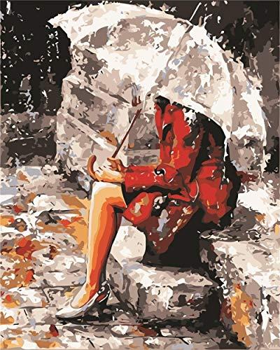 mnbhj DIY Vorgedruckt Leinwand Paint Works Malen Nach Zahlen Kit Für Erwachsene Kinder Anfänger 45*50Cm Kreatives Kindergeschenk Bilder Von Mädchen Mit Regenschirm(Mit Rahmen)