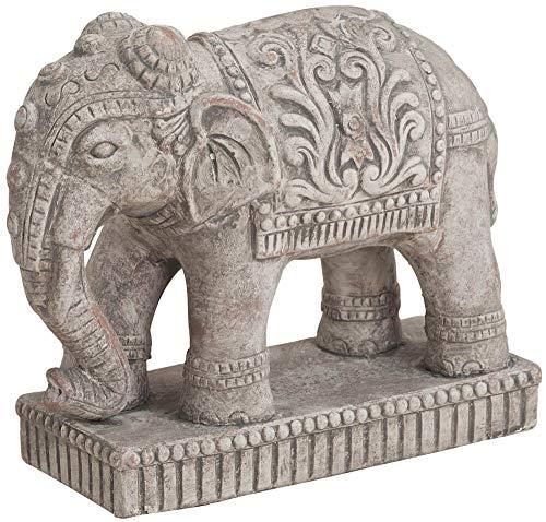matches21 Elefant Statue indische Skulptur Keramik Antik-Optik Keramikfigur Dekofigur Garten & Haus 27x11x23 cm