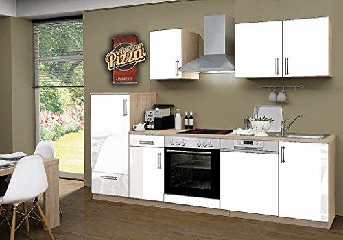 idealShopping Küchenblock mit Geschirrspüler und Cerankochfeld Premium 270 cm in weiß glänzend